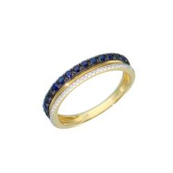 11744S Pierścionek złoto 585 diamenty szafir r13