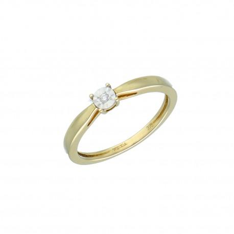 Y01-16840 Pierscionek diament r10 złoto 375