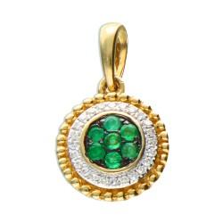 Zawieszka złoto 585 diamenty szmaragd 14198Z